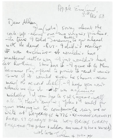 A JOHN LENNON HAND WRITTEN ONE PAGE LETTER TO ALLEN GINSBERG, ALONG WITH NUDE PORTRAITS OF JOHN AND YOKO, WITH ENVELOPE.; ALONG WITH AN ALLEN GINSBERG HAND WRITTEN 1/2 PAGE LETTER TO RALPH GINZBURG.; AND A TYPED COPY OF A LETTER  TO JOHN LENNON FROM RALPH GINZBURG.