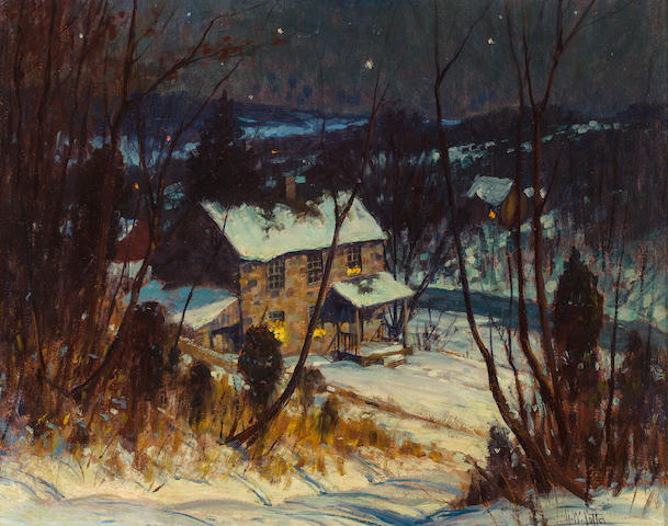 George William Sotter (American, 1879-1953) Bucks County, Riverside Nocturnal Winter Landscape 16 x 20in
