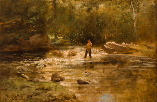 George Inness, Jr. (American, 1853-1926) Gentleman Fishing 24 x 36in