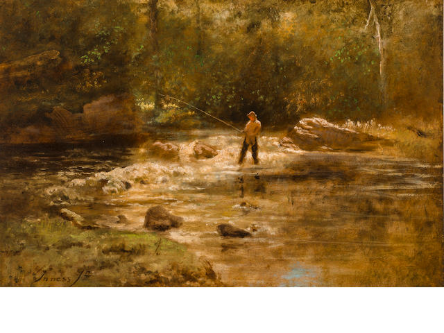 George Inness Jr., Gentleman fishing in a stream