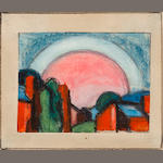 Oscar Bluemner (American, 1867-1938) Landscape with Moon or Pink Moon - ASK JEFF 3 1/4 x 3 3/4in