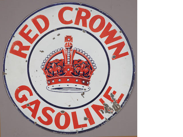 A Large Red Crown Gasoline sign, c. 1950s,