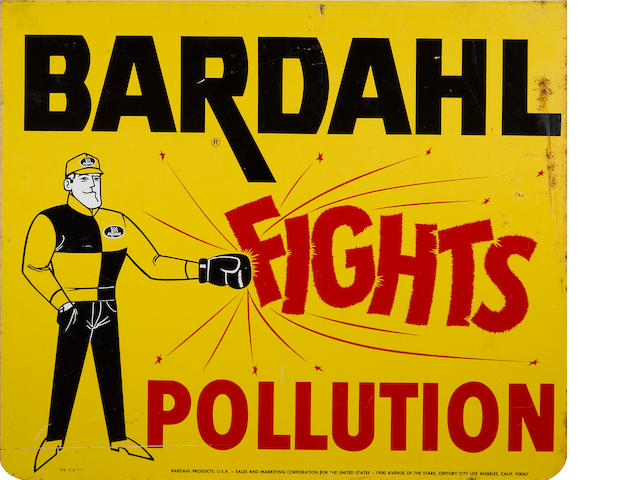 "A Bardahl ""Fights Polution"" sign, c. 1970s,"