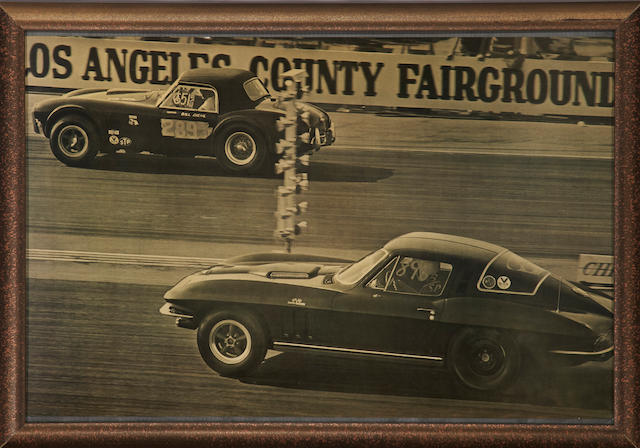 A large poster size image of a Corvette and a Cobra drag race, c. 1960s,