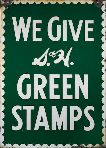 A double sided S&H Greenstamps sign, c. 1950s,