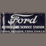 A Ford Authorized Service Station sign, c. 1920s,