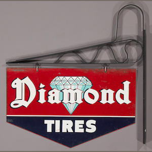 A Diamond Tires sign, c. 1920s,