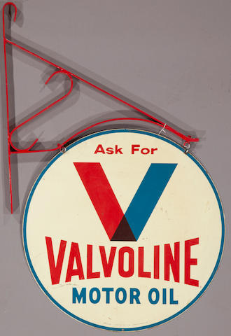 A double sided Valvoline Motor Oil sign, c. 1960s,