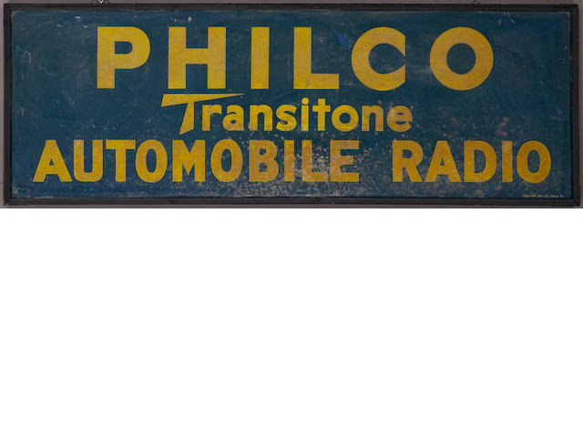 A Philco Automobile Radio sign, c. 1920s,