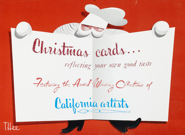A preliminary poster design for the California Artists Christmas cards collection