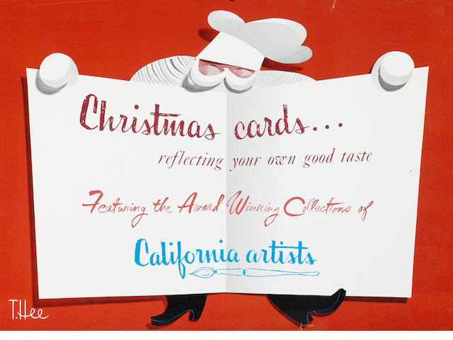 PRELIMINARY POSTER ART  OF A SANTA CLAUS FOR THE COLLECTIONS OF CALIFORNIA ARTISTS.