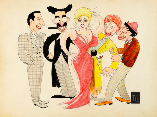 Watercolor caricatures of the Marx Bros. and Mae West
