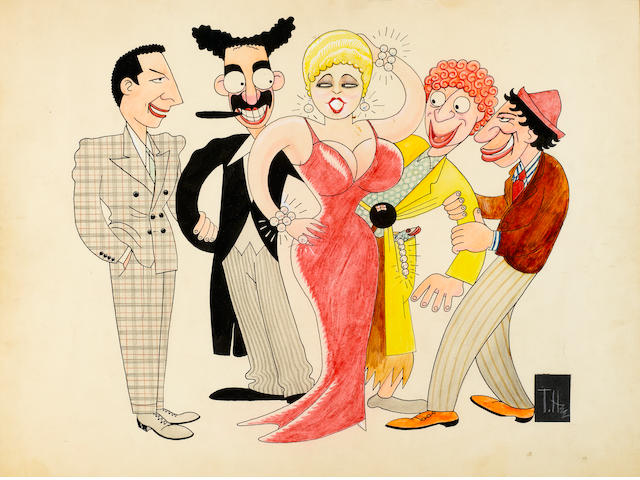 A CARTOON WATER COLOR  OF THE MARX BROTHERS AND MAE WEST.