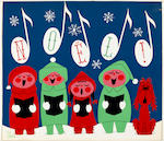 A GROUP OF FOUR CHRISTMAS/NOEL CARDS DESIGNS