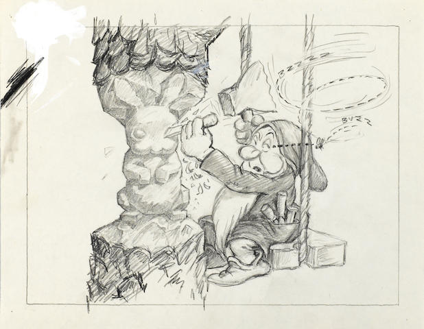 A GROUP OF FIVE STORYBOARD ILLUSTRATIONS FROM SNOW WHITE.