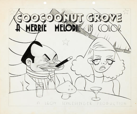 A PEN AND INK LOBBY CARD DESIGN FOR COOCOONUT GROVE