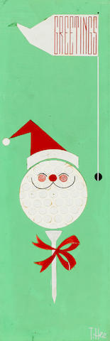 A GROUP OF THREE CHRISTMAS CARD DESIGNS WITH A GOLF MOTIF AND MATCHING DRAWINGS