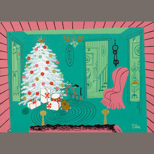 A GROUP OF FOUR CHRISTMAS CARD DESIGNS. ( A RADIO TOWER, A SICK DEER, SANTA AND A STORK, AND A CHRISTMAS TREE.