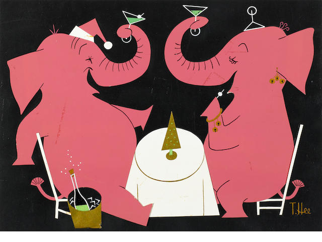 A GROUP OF THREE CHRISTMAS CARD DESIGNS. ( TWO OF SANTA AND ONE OF ELEPHANTS.)