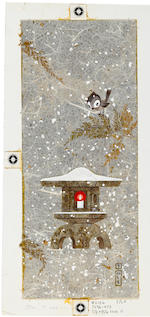 Four watercolor and collage Christmas card designs