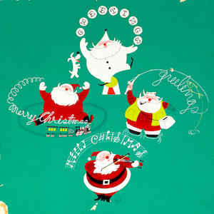 A GROUP OF FOUR CHRISTMAS CARD DESIGNS. ( BIRDS, A DEER WITH A MIRROR, A JAPANESE LANTERN, AND A SANTA.)