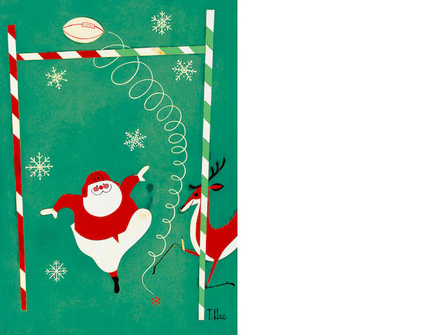 A GROUP OF FOUR CHRISTMAS CARD DESIGNS. ( TWO FOOTBALL MOTIF, ONE NOEL, AND ONE SANTA.)