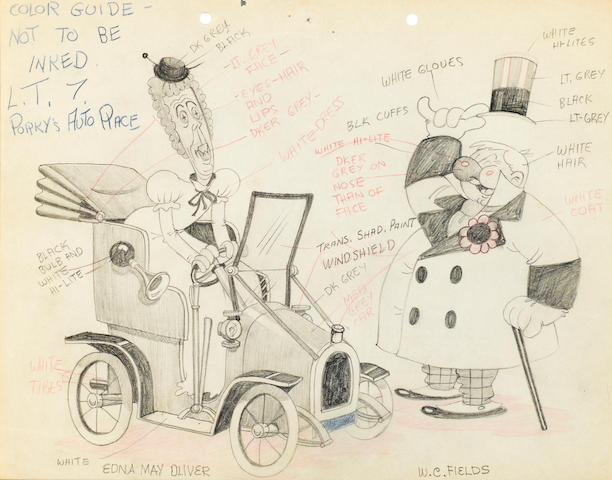 A collection of eight drawings of movie stars from Coo-Coonut Grove and Mother Goose Goes to Hollywood