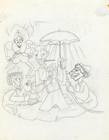 "A GROUP OF THIRTEEN DRAWINGS FROM ""MOTHER GOOSE GOES TO HOLLYWOOD"""