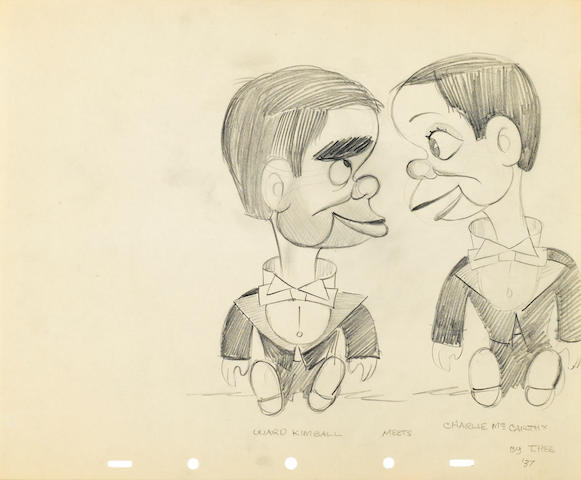 A GROUP OF FIFTEEN CARICATURE CARTOON DRAWINGS OF WALT DISNEY EMPLOYEES
