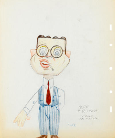 A collection of 15 caricature drawings of Disney employees