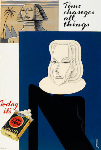A pencil and collage caricature of Greta Garbo for a Lucky Strike ad campaign