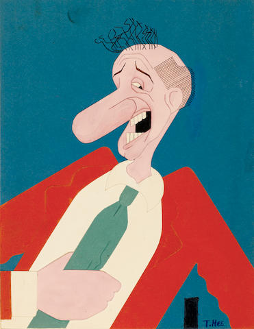 A JIMMY DURANTE PAPER CUT DRAWING.