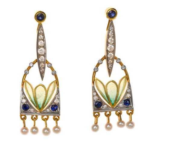 A pair of plique-à-jour enamel, diamond, sapphire and seed pearl earrings, Masriera