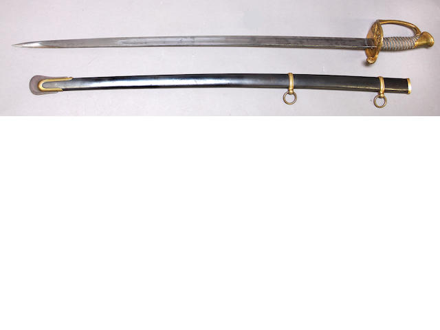 An unmarked U.S. Model 1850 foot officer's sword