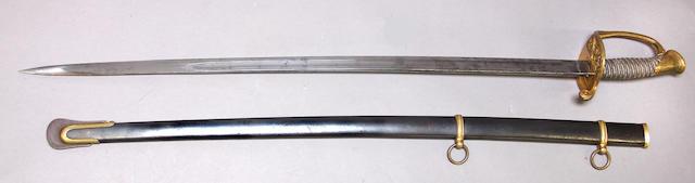 An unmarked U.S. Model 1850 foot officer's sword