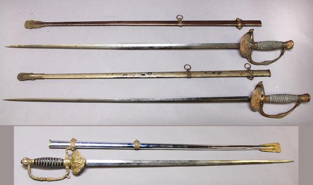 A lot of three U.S. Model 1860 staff & field officer's swords