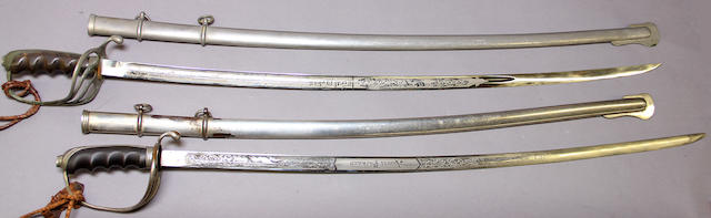 A lot of two inscribed U.S. Model 1902 sabers for all officers