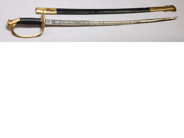 An inscribed U.S. Marine Corps non-commissioned officer's sword