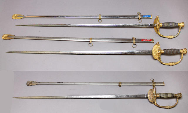 A lot of three U.S. Model 1860 staff and field officer's swords