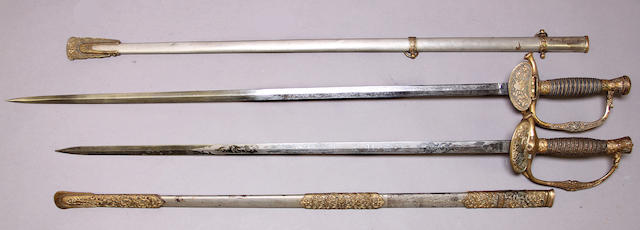 A lot of two inscribed U.S. Model 1860 staff & field officer's swords