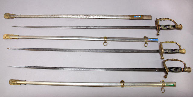 A lot of three U.S. Model 1860 staff & field officer's swords