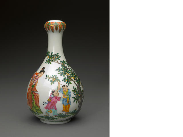 An enameled porcelain ovoid vase with children and court women in a landscape four character Qianlong mark