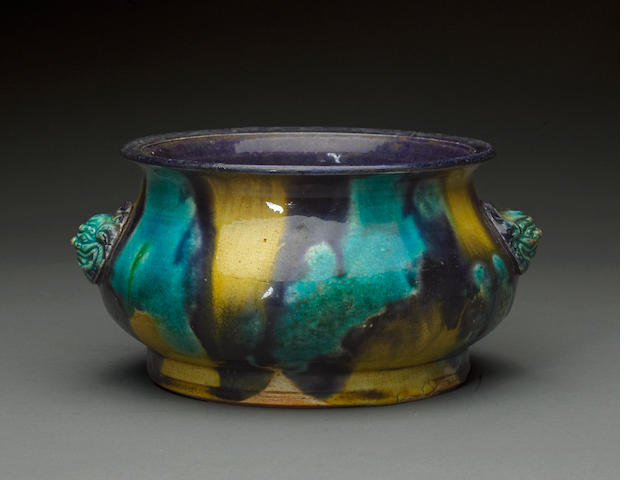 A sancai glazed bombe handled ceramic censer 17th century