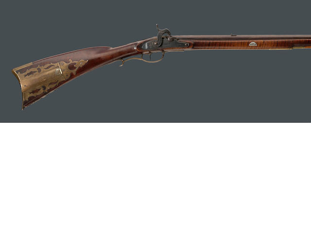 An American full stocked percussion conversion rifle attributed to Samuel Baum