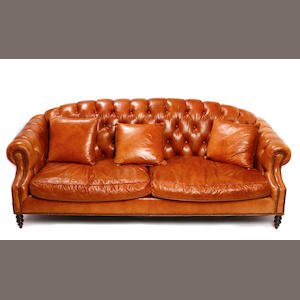A Victorian style brass studded and tufted leather Chesterfield sofa