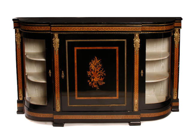 A Napoleon III gilt metal mounted marquetry inlaid ebonized credenza