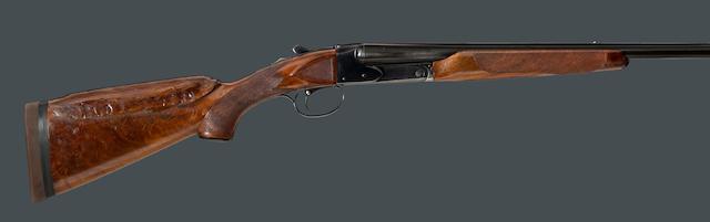 A 20 gauge Winchester Model 21 boxlock trap shotgun