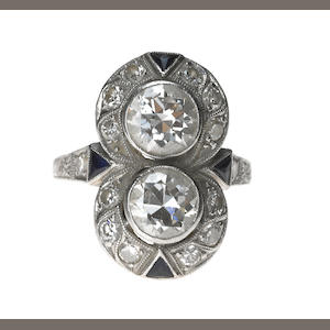 Diamond double art deco ring-2 diamonds weighing approx 1.50 tw in platinum mount