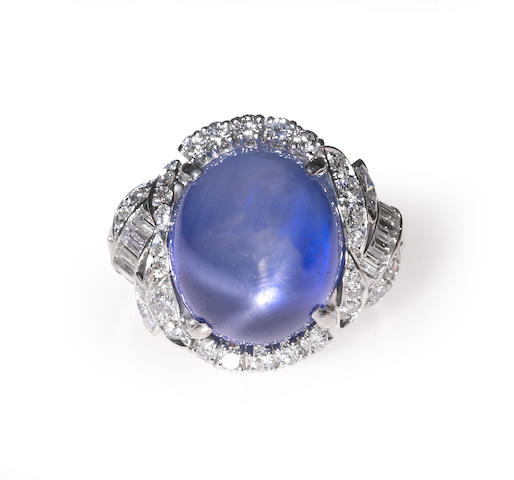 A star sapphire, diamond, and platinum ring