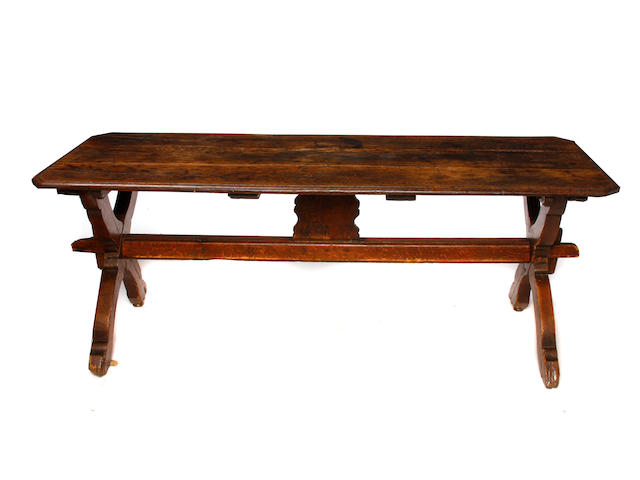 A Continental Baroque oak refectory table